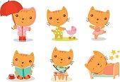 cartoon kitty everyday activites set
