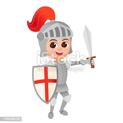 istock Cartoon knight boy costume 1250385282
