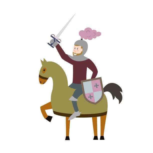 cartoon ritter zu pferd auf weißem hintergrund. - reiter stock-grafiken, -clipart, -cartoons und -symbole