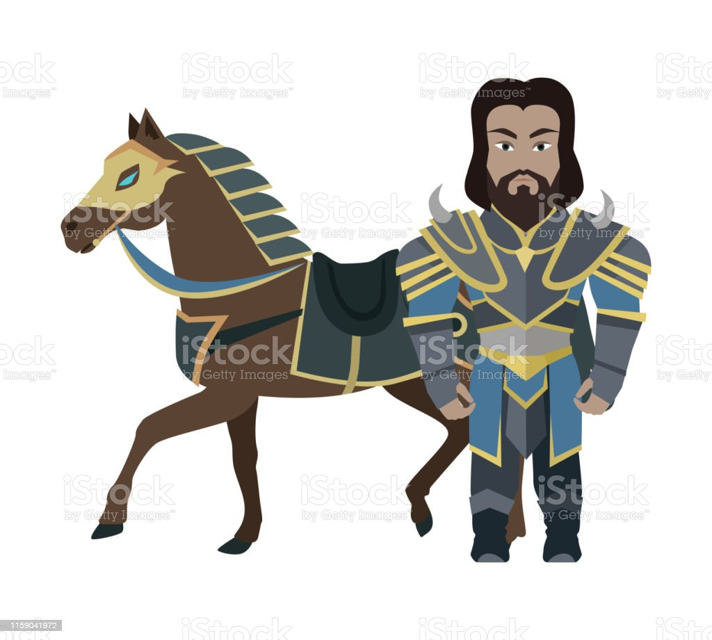 Cartoon Knight Warrior With Horse Game Character Stock Illustration Download Image Now Istock