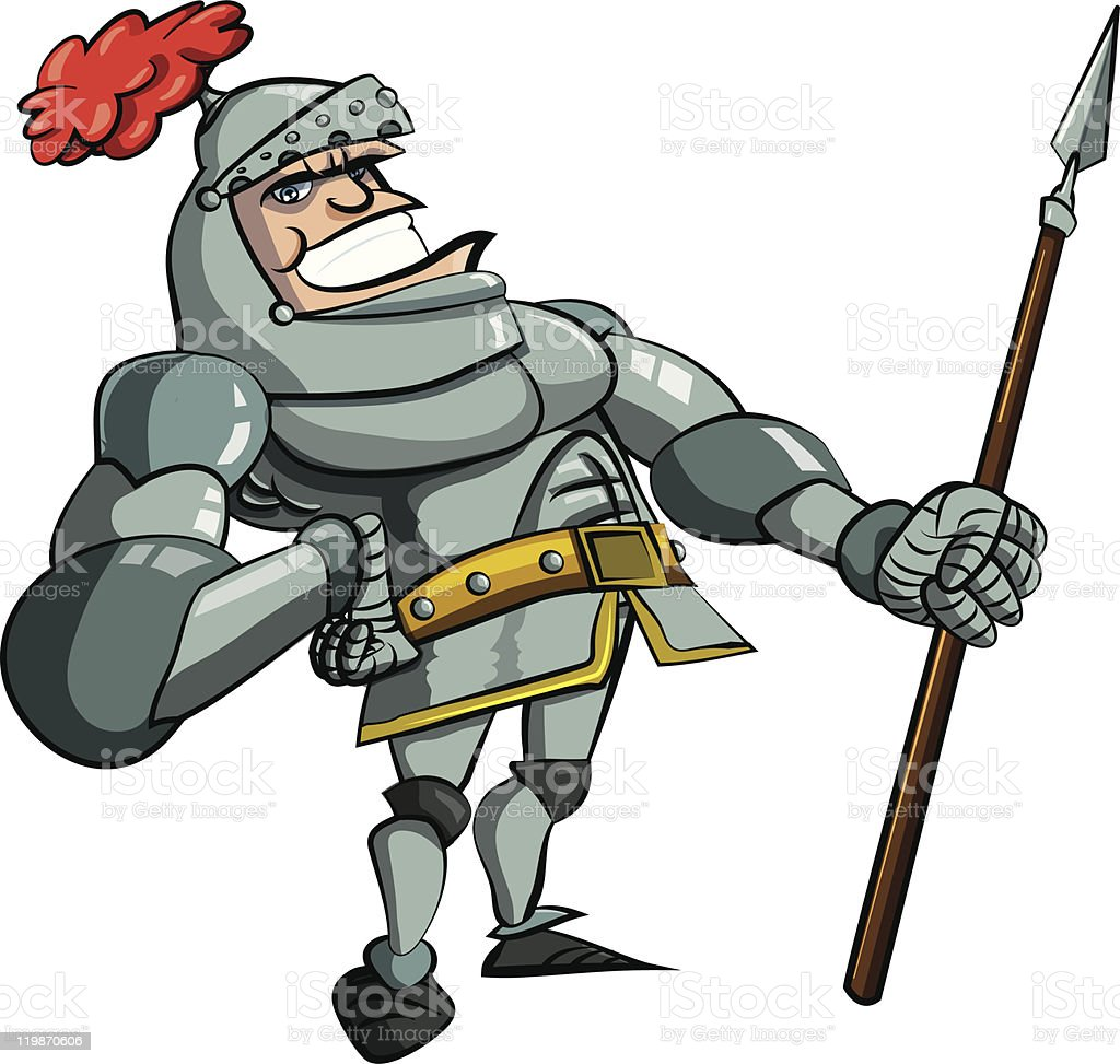 Cartoon knight with a spear royalty-free stock vector art