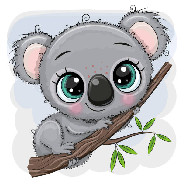cartoon koala is sitting on a tree - koala stock illustrations