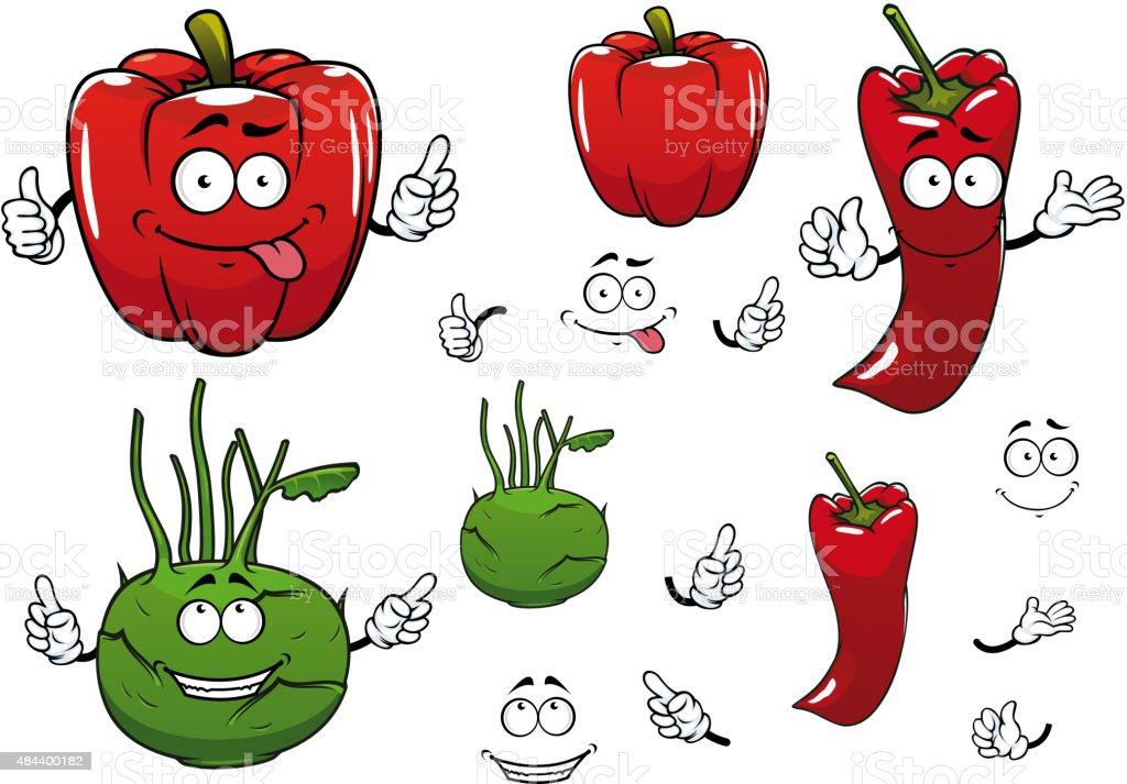 Cartoon kohlrabi, chili and red pepper vegetables vector art illustration