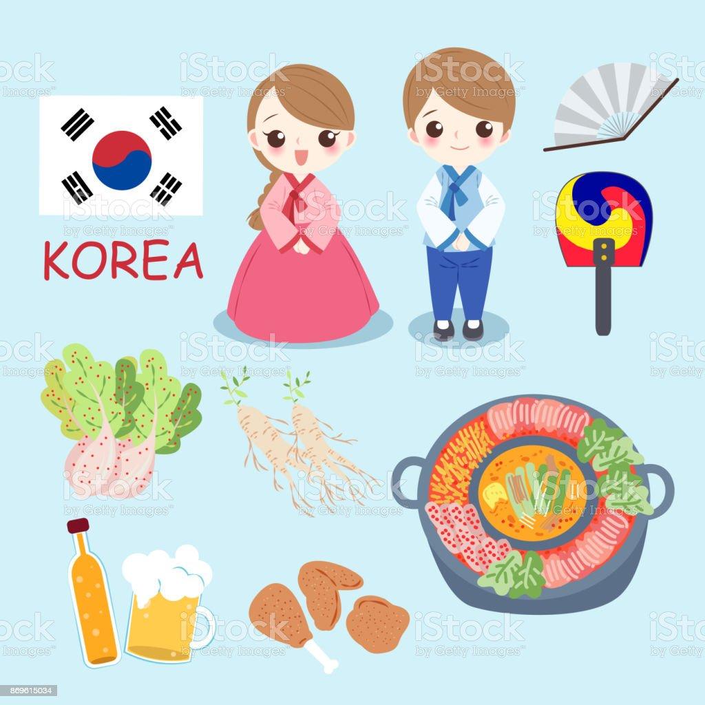 cartoon korea people vector art illustration