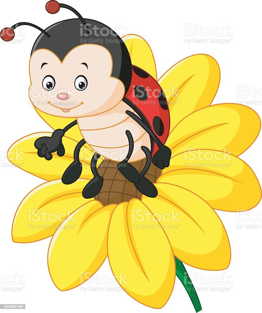 cartoon ladybug on the sun flower stock vector art 604382160 istock