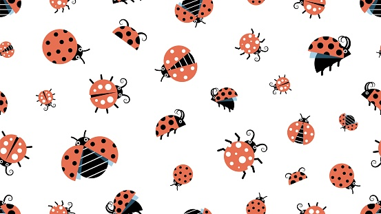 Cartoon ladybugs. Insect pattern, forest wildlife. Beetles background, children texture vector seamless texture