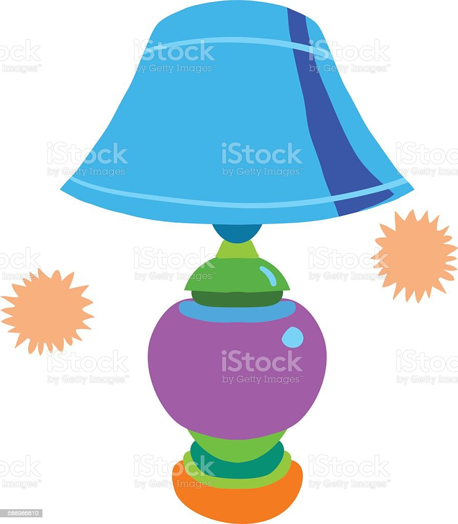 Cartoon lamp flat icon. vector art illustration