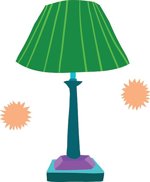 Cartoon lamp flat icon. vector art illustration