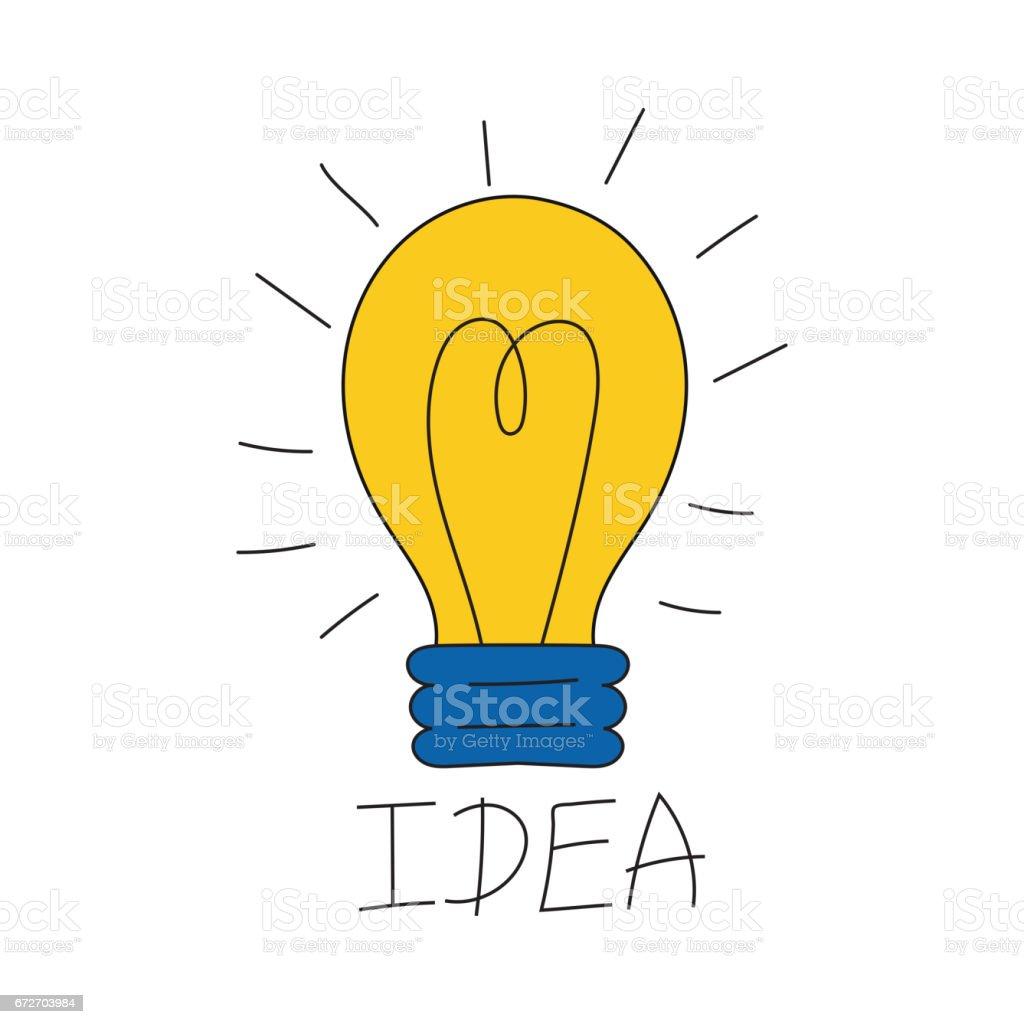 dessin anim lampe ampoule design plat vector illustration. Black Bedroom Furniture Sets. Home Design Ideas
