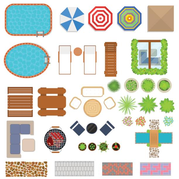 Cartoon Landscape Design Elements Set Top View. Vector Cartoon Landscape Design Elements Set Top View Flat Style for Home, Hotel or Resort. Vector illustration patio stock illustrations
