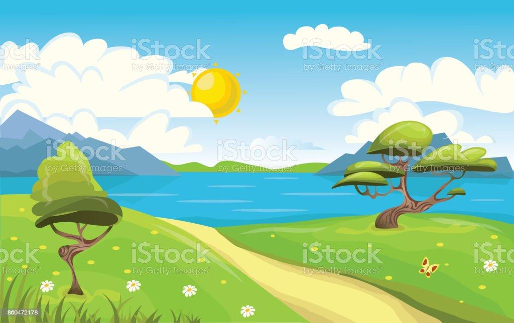 Ilustración De Paisaje De Dibujos Animados Montaña Mar O Lago