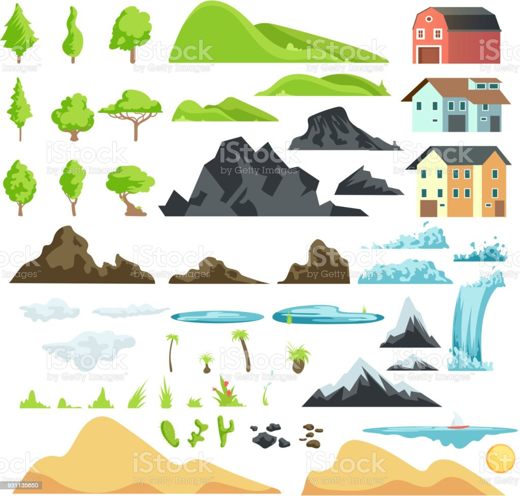 Cartoon landscape vector elements with mountains, hills, tropical trees and buildings vector art illustration