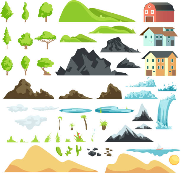 ilustraciones, imágenes clip art, dibujos animados e iconos de stock de dibujos animados elementos de vector de paisaje con montañas, colinas, árboles tropicales y edificios - lago