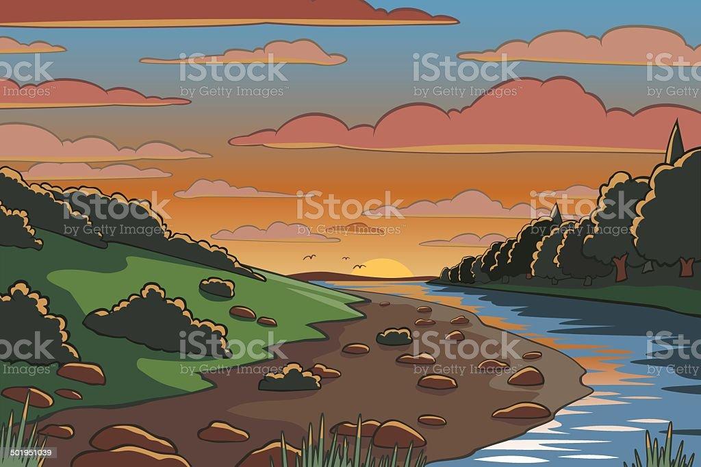 Cartoon landscape vector art illustration