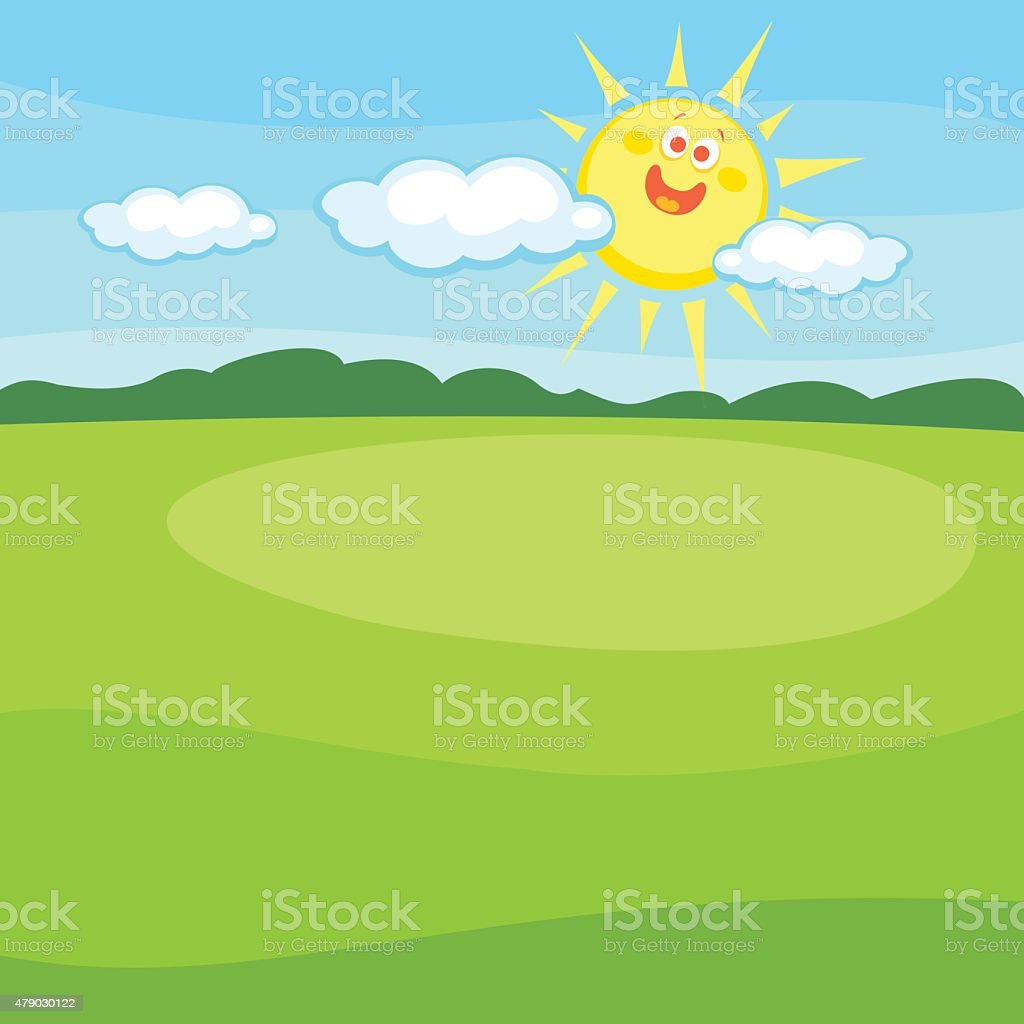 Cartoon Landscape With Cute Smiling Sun vector art illustration