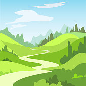 Cartoon landscape with green fields, trees. Beautiful rural nature.  Vector Illustration.