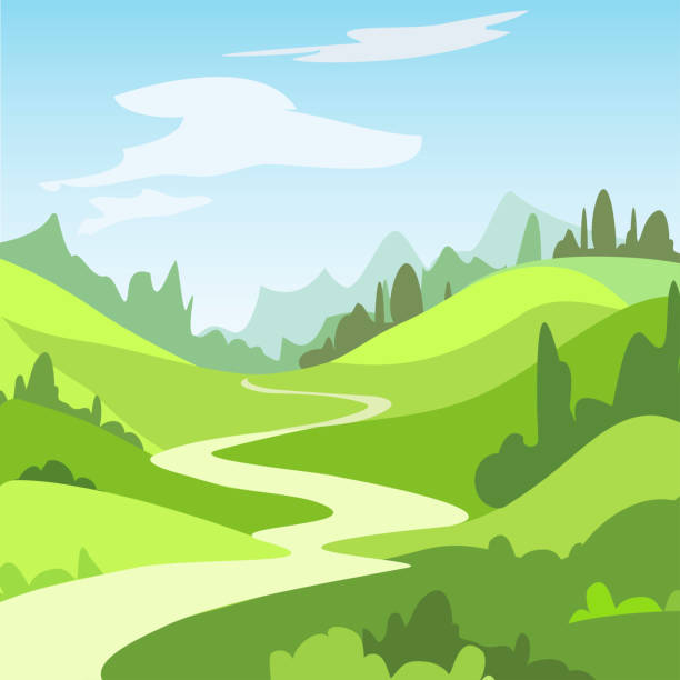 Cartoon landscape with green fields, trees. Beautiful rural nature. Cartoon landscape with green fields, trees. Beautiful rural nature.  Vector Illustration. valley stock illustrations