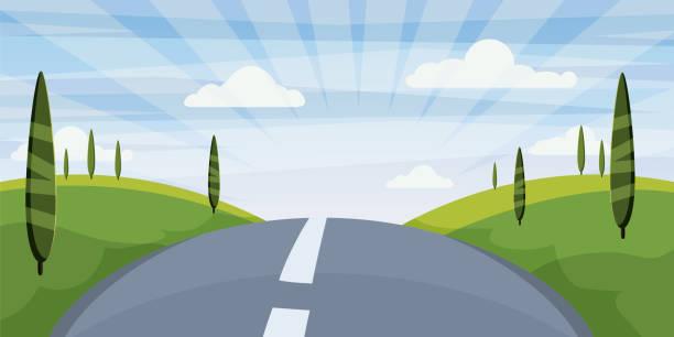 卡通景觀與路, 高速公路和夏天, 海, 太陽, 樹木。旅行, 度假, 旅行。向量例證, 查隔絕, 動畫片樣式 - road trip 幅插畫檔、美工圖案、卡通及圖標