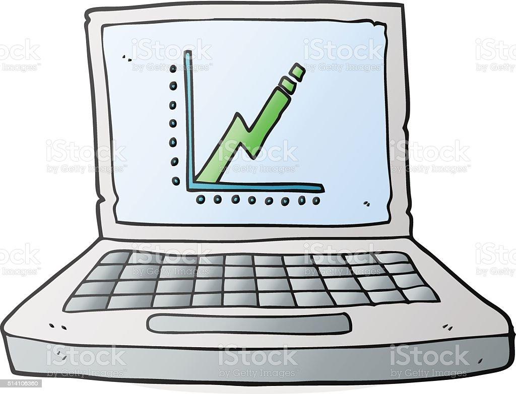 カットイラストノートパソコンとビジネスのグラフ - いたずら書きの