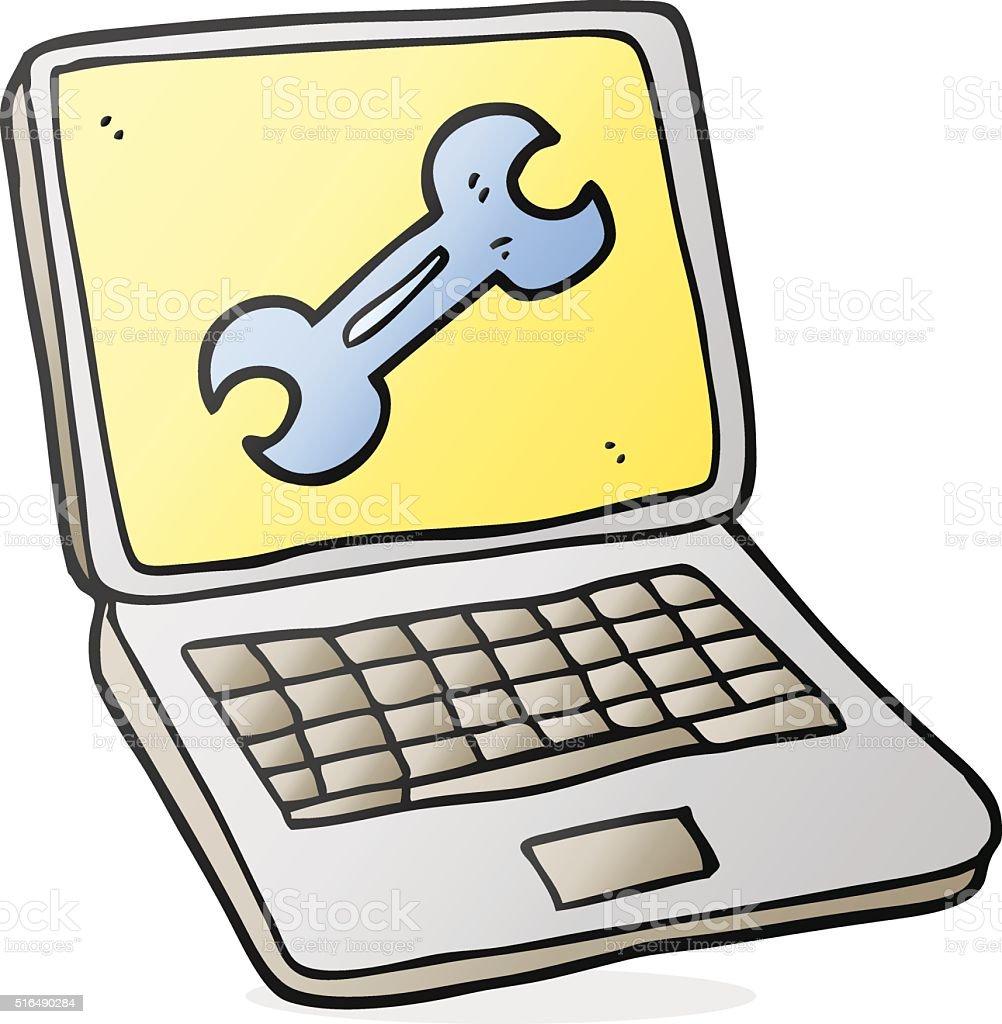 カットイラストノートパソコンの修正画面 - いたずら書きのベクター