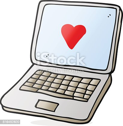 Cartoon Laptop Computer With Heart Symbol On Screen Stock Vector Art