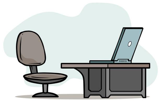 cartoon-laptop auf tisch mit bürostuhl - stuhllehnen stock-grafiken, -clipart, -cartoons und -symbole