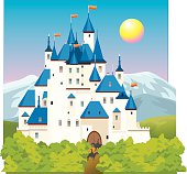 Cartoon, Large Castle Near Forest and Mountains During Day