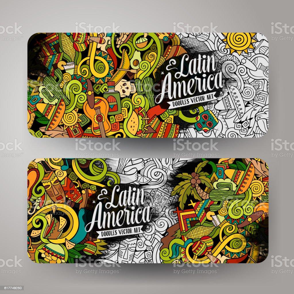 Cartoon Latin American  doodles banners vector art illustration