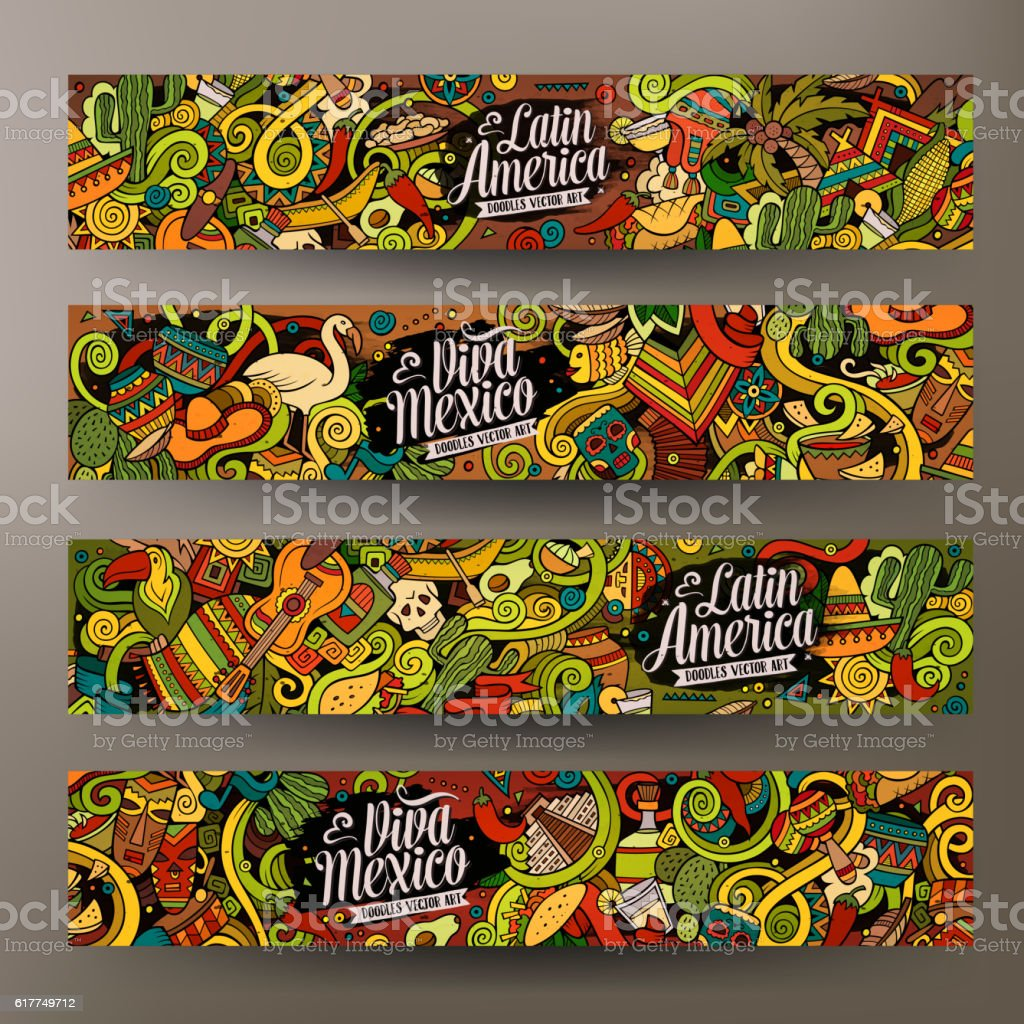 Cartoon Latin American  doodles banners vector art illustration