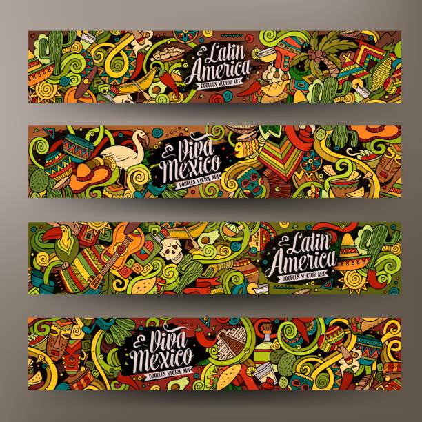 ilustraciones, imágenes clip art, dibujos animados e iconos de stock de cartoon latin american  doodles banners - comida india