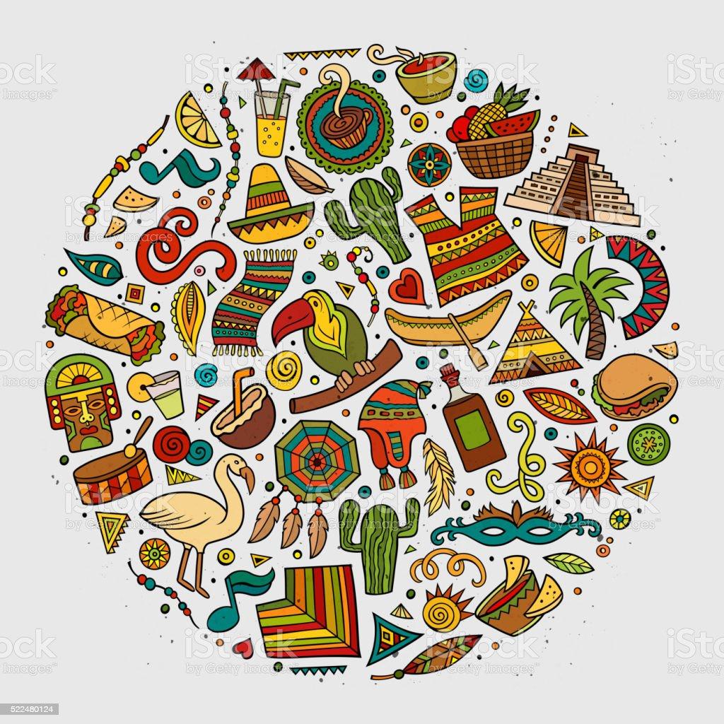Cartoon Latin American Symbols Set Stock Vector Art More Images Of