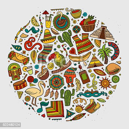 Cartoon Latin American Symbols Set Stock Vector Art More Images Of