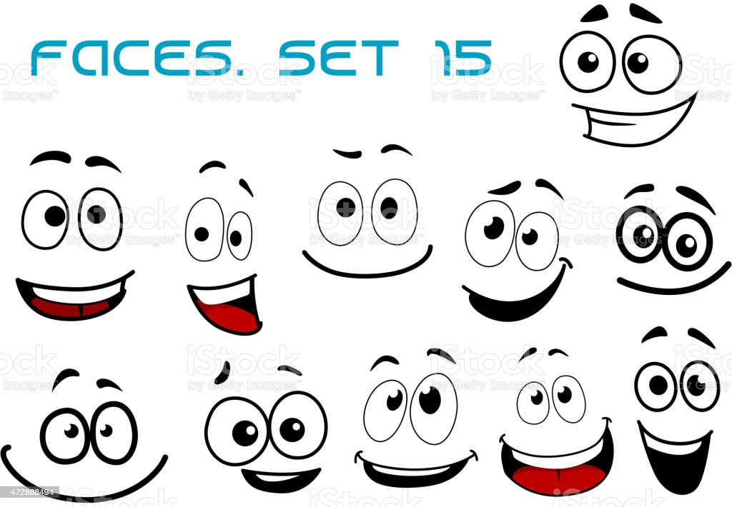 cartoon laughing faces with googly eyes stock vector art