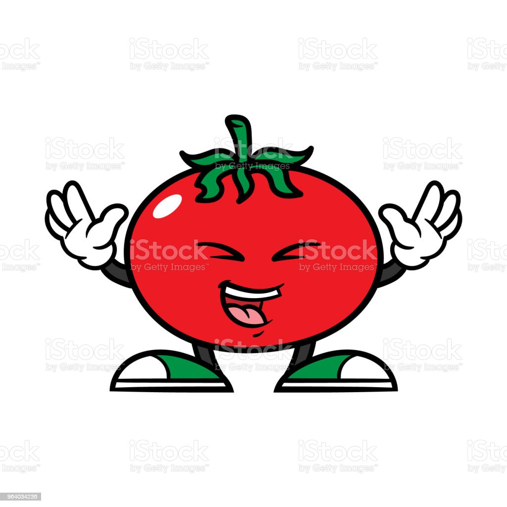 Cartoon Laughing Tomato Character - Royalty-free Agriculture stock vector
