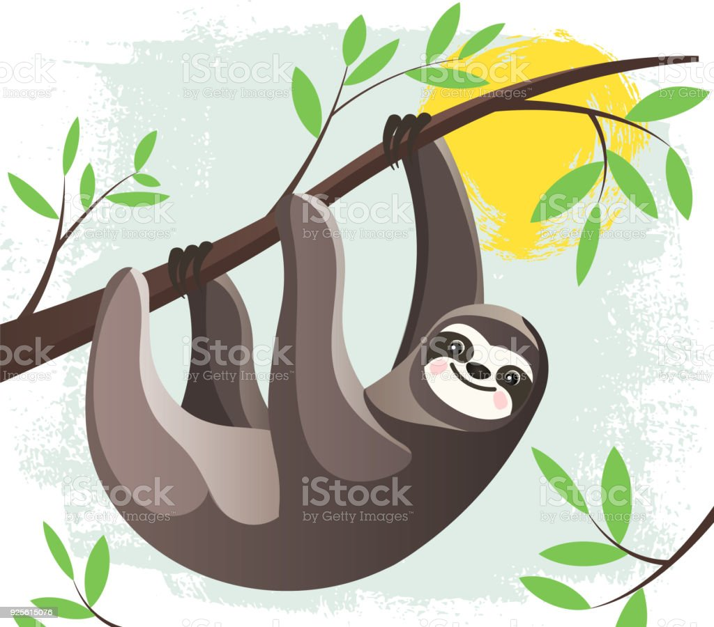 Cartoon lazy Hanging Sloth in a rain forest  on a tree branch. Funny childish character. Stylized Flat style Vector Illustration. vector art illustration