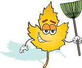 Cartoon leaf holding a rake.