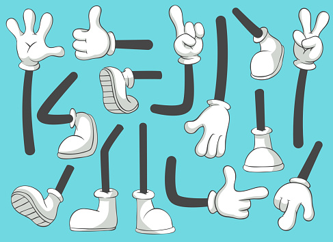 Cartoon legs and hands. Leg in boots and gloved hand, comic feet in shoes. Glove arm vector isolated illustration set clipart