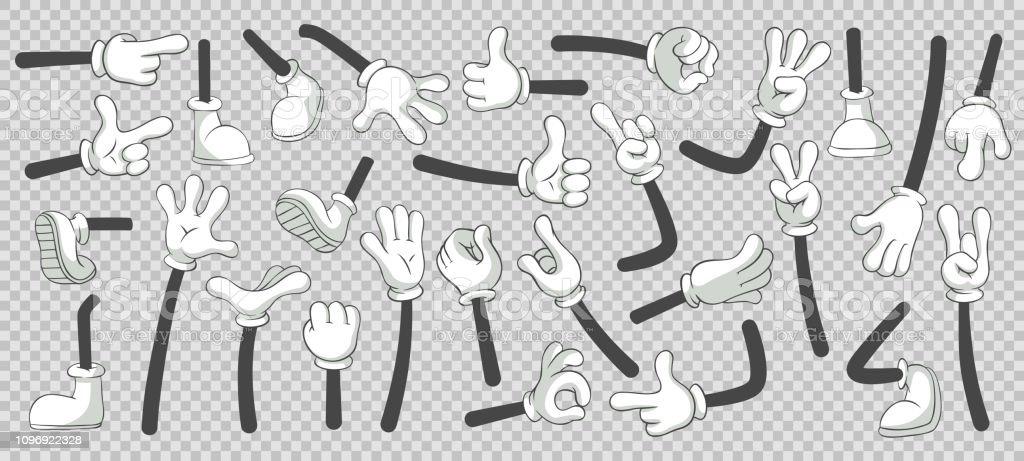 漫画足と手。ブーツと手袋をはめた手の足。分離ベクトル イラスト セット - 1人のロイヤリティフリーベクトルアート