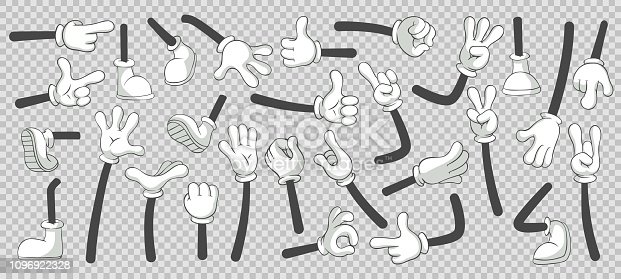 Cartoon legs and hands. Legs in boots and gloved hands. Feet and glove hand character or foot in sneakers kicking, walking and running. Vector isolated illustration symbols set
