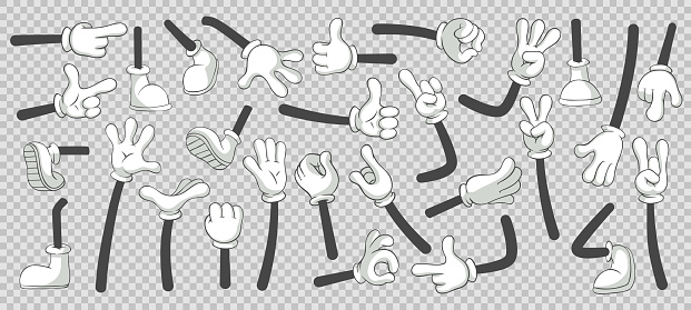 Cartoon legs and hands. Legs in boots and gloved hands. Vector isolated illustration set clipart