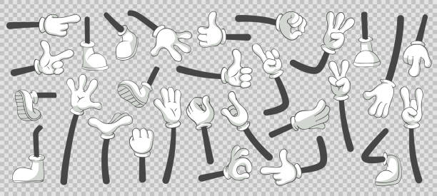 Cartoon legs and hands. Legs in boots and gloved hands. Vector isolated illustration set Cartoon legs and hands. Legs in boots and gloved hands. Feet and glove hand character or foot in sneakers kicking, walking and running. Vector isolated illustration symbols set mascot stock illustrations
