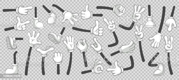 漫画足と手ブーツと手袋をはめた手の足分離ベクトル イラスト セット - 1人のベクターアート素材や画像を多数ご用意