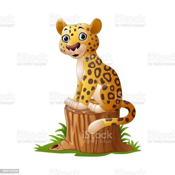 Cartoon leopard sitting on tree stump vector id959453536?b=1&k=6&m=959453536&s=612x612&h=38juvkxhsgyowhuu9ext4hxwiv5qrckjn6i9yqkrw9q=