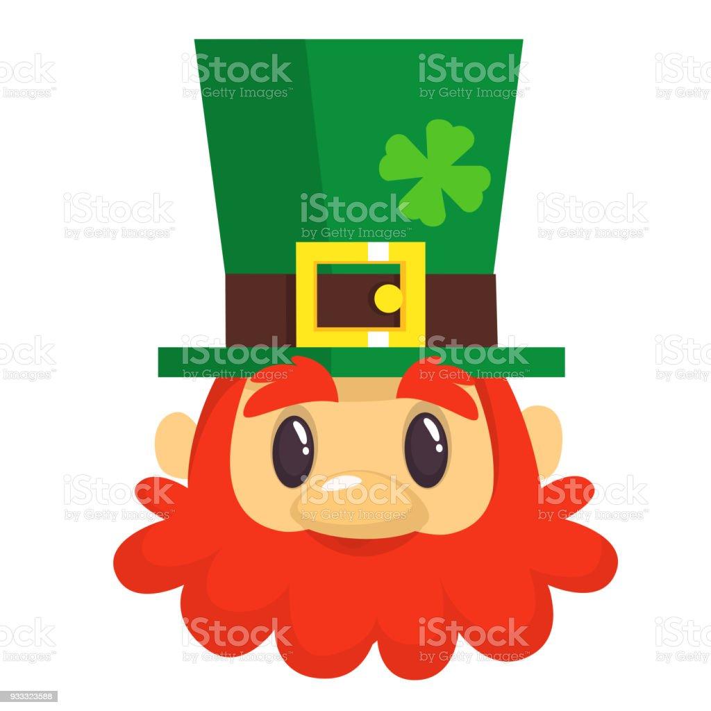 7333c0561fcad Cartoon Leprechaun head in green hat. Head with Red beard. Portrait for St.  Patrick s Day celebration in Ireland - Illustration .