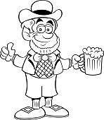 Cartoon leprechaun holding a beer and giving thumbs up.
