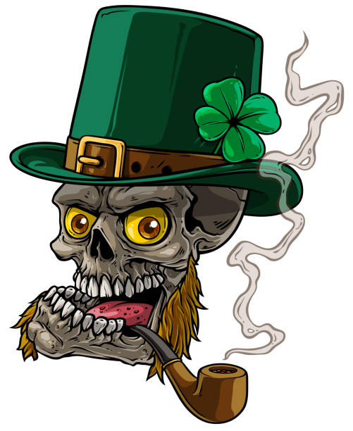 cartoon-leprechaun-skull-with-whiskers-a