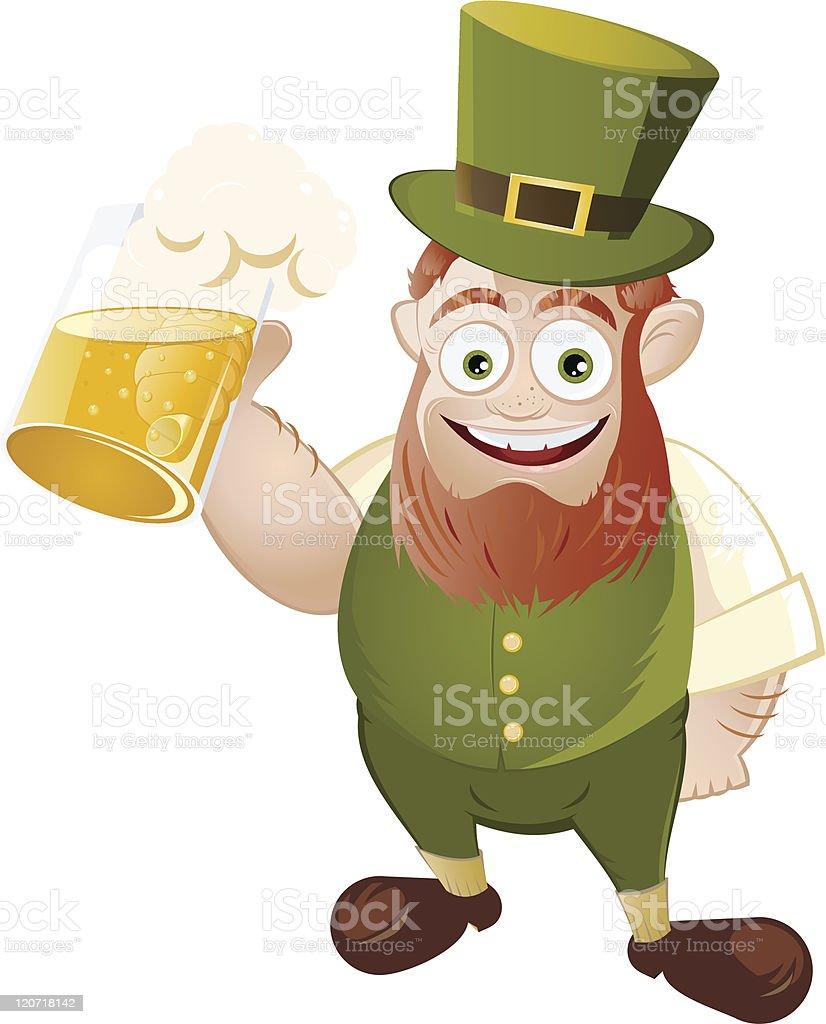 cartoon leprechaun with beer vector art illustration