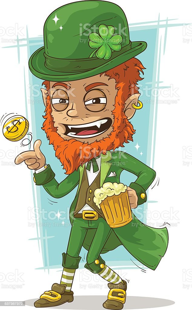 Cartoon leprechaun with gold coin and beer