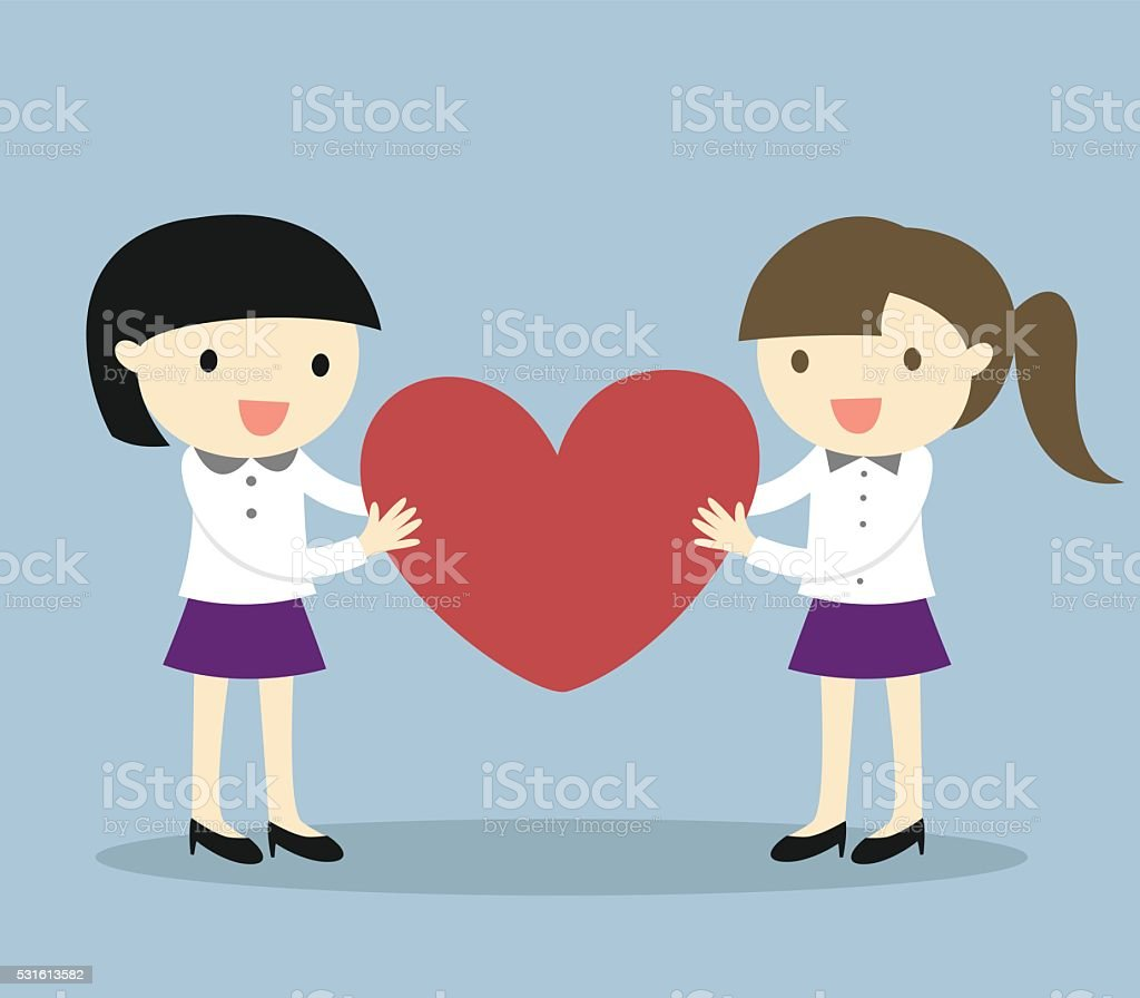 cartoon lesbian couple holding red heart stock vector art & more