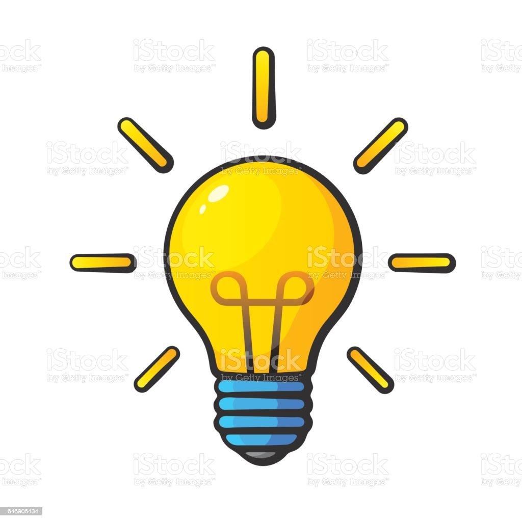 Cartoon light bulb in comic style illustration